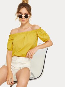 Off-shoulder Blouson Sleeve Frill Blouse