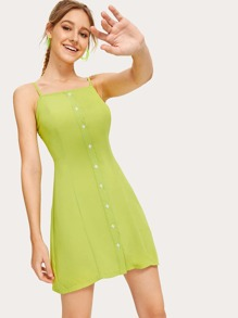Button Front Solid Cami Dress