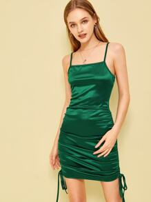 Drawstring Side Satin Bodycon Slip Dress
