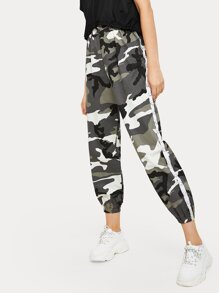 Side Stripe Ring Detail Camo Pants