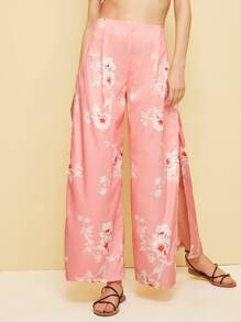 Floral Print Split Wide Leg Pants