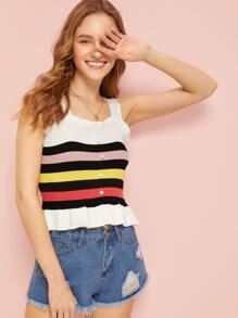 Colourful Stripe Frill Top