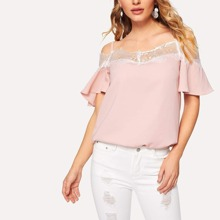 Contrast Lace Neck Cold-shoulder Blouse