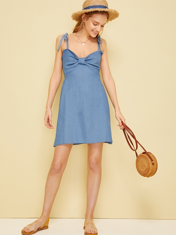 848f109a92 Knot Front Shirred Denim Cami Dress