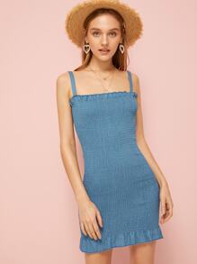 Solid Frill Shirred Denim Cami Dress