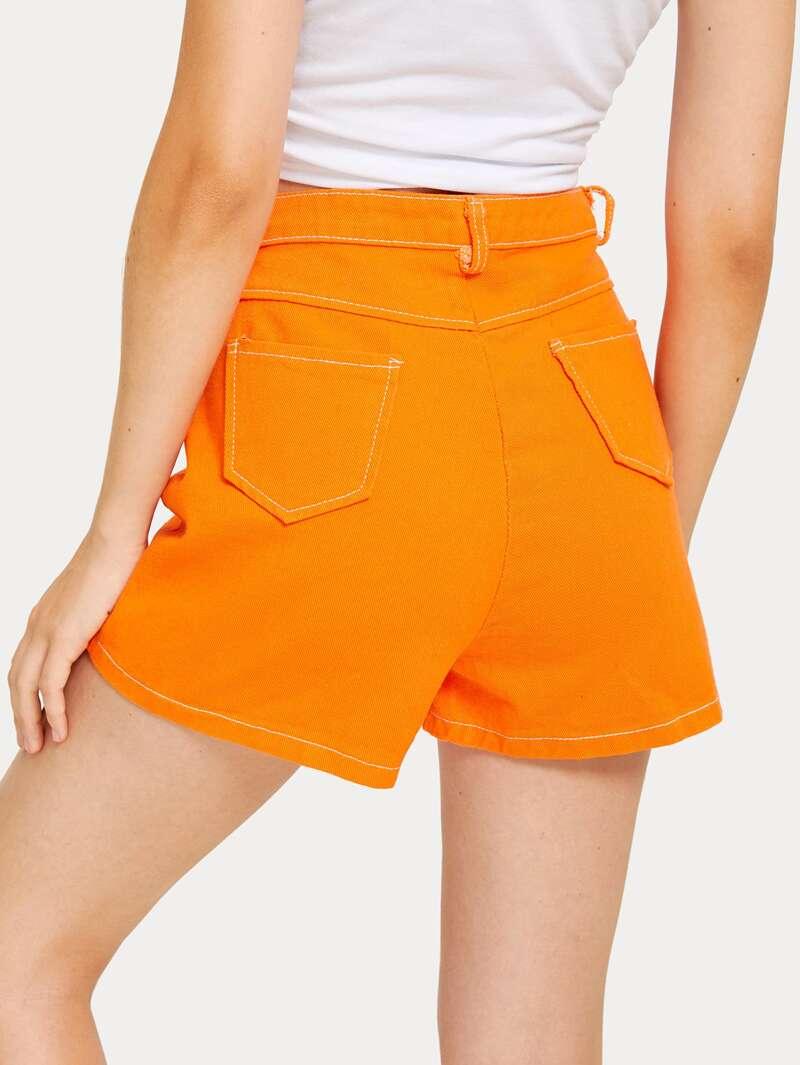 costura Pantalones mezclilla con neón de cortos de WYb9D2EHeI