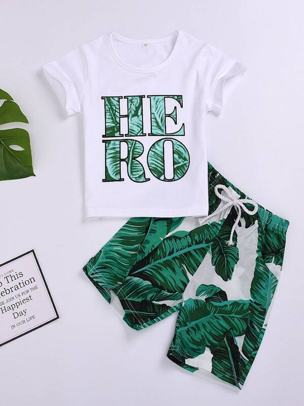 518ad47aa6 Toddler Boys Letter Print Tee With Tropical Print Bermuda Shorts