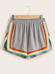 Plus Side Rainbow Stripe Slit Hem Shorts