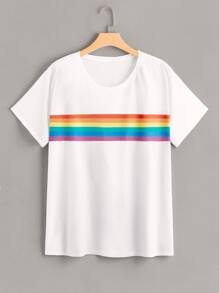 Plus Rainbow Stripe Print Tee