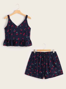 Plus Allover Cherry Print Peplum Cami Top With Shorts