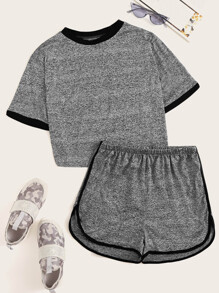Plus Contrast Binding Tee With Dolphin Shorts