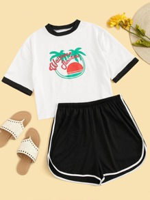 Plus Letter Print Contrast Binding Tee With Dolphin Shorts