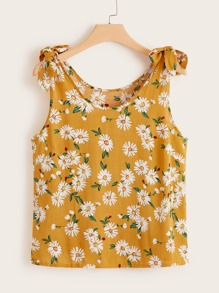 Plus Floral Print Knot Tank Top