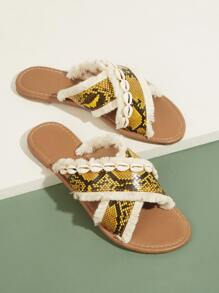 Snakeskin Pattern Faux Fur Flat Slippers