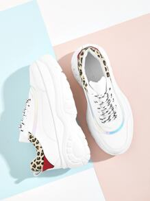 Leopard Pattern Lace-up Chunky Sneakers