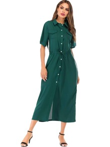 Tuxedo Stripe Side Drawstring Waist Shirt Dress
