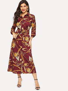 Chain Print Waist Tie Shirt Dress