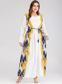 Plus Contrast Striped Print Belted Maxi Dress