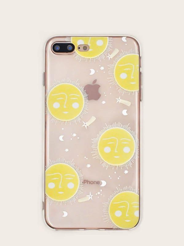 7a36a76053 Sun & Star Pattern Transparent iPhone Case | SHEIN IN