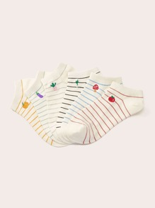 Vegetables Embroidery Striped Ankle Socks 6pairs