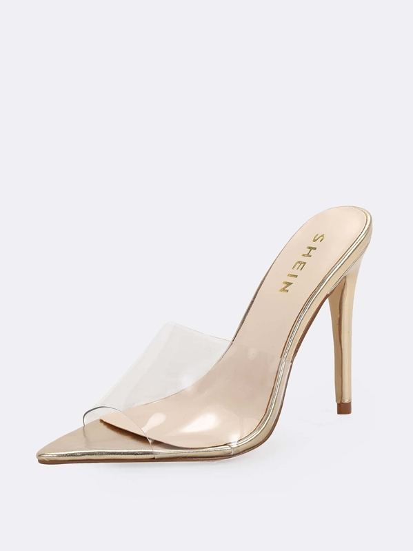 401cfb03a83 Pointed Toe Clear Band Slide On Heeled Mules