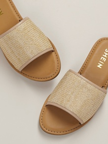Wide Woven Raffia Band Flat Slide Sandals
