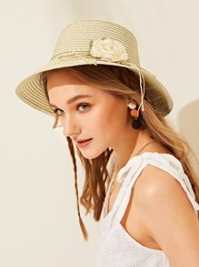 Flower Detail Lace-up Floppy Hat