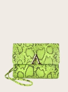 Neon Lime V Cut Snakeskin Print Bag