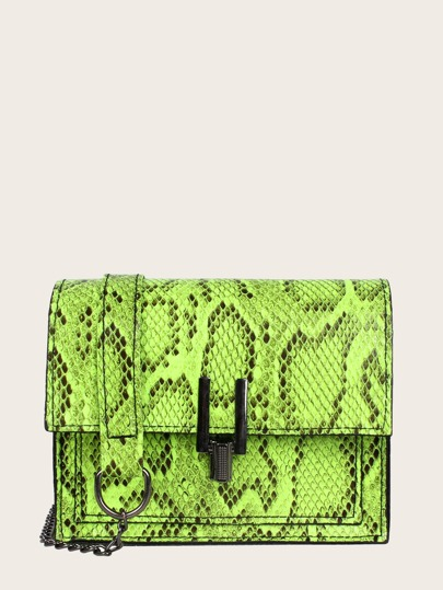 Neon Lime Snakeskin Flap Chain Bag
