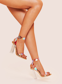 Open Toe Two Part Chunky Heels