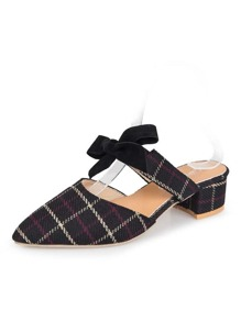 Pointed Toe Bow Decor Plaid Heels