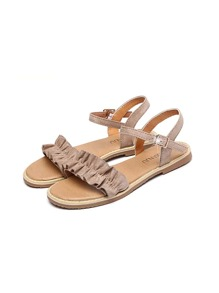 Ruffle Decor Suede Flat Sandals
