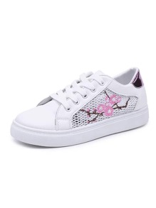 Floral Embroidered Mesh Panel Sneakers