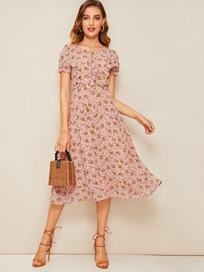 253b091246 70s Ditsy Floral Tie Neck Ruffle Trim Dress