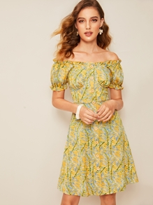 Frill Trim Button Front Leaves Print Bardot Dress