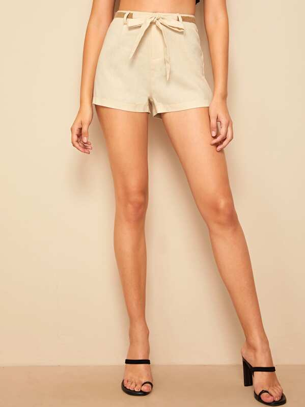 Shein 60s Straw Belt Shorts by Sheinside