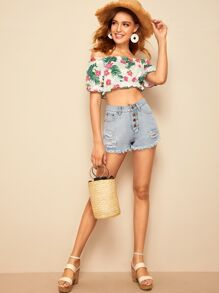 Tropical Print Frill Trim Crop Bardot Top
