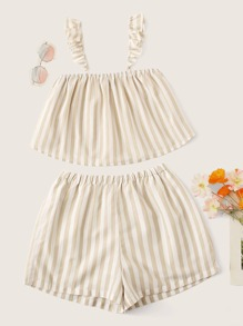 Striped Flowy Top With Ruffle Strap and Shorts Set