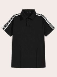 Men Letter Tape Yoke Polo Shirt