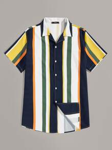Men Color-block Striped Shirt