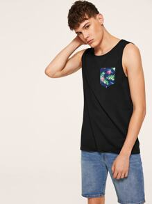 Men Jungle Leaf Pocket Tank Top