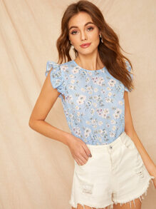 Ditsy Floral Ruffle Trim Top