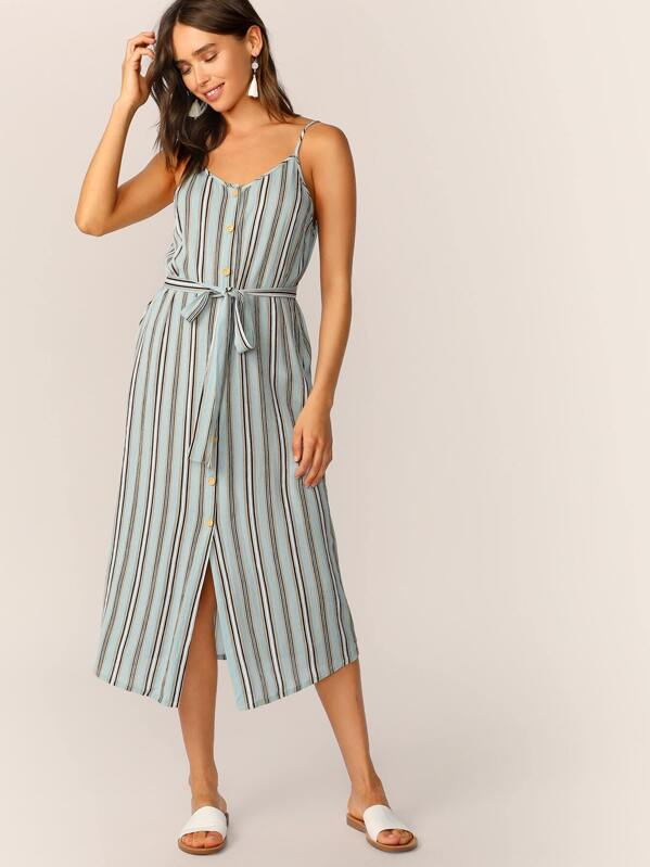 63a77bee9451 Shoptagr | Striped Button Front Belted Slip Dress by Shein