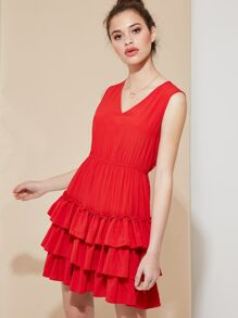 V Neck Sleeveless Frill Dress