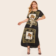 Plus Animal Scarf Print Belted Maxi Tunic Dress