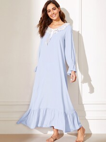 Embroidered Mesh Ruffle Trim Bell Sleeve Nightdress