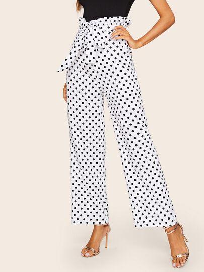 6e496c0052 Pantalones anchos de lunares de cintura con volante