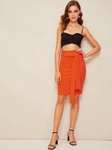 4aa24eabaf60 Neon Orange Tie Waist Pencil Skirt | SHEIN