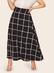 Plus A-line Grid Maxi Skirt
