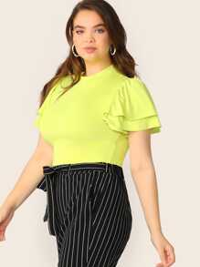 Plus Layered Flutter Sleeve Neon Yellow Tee